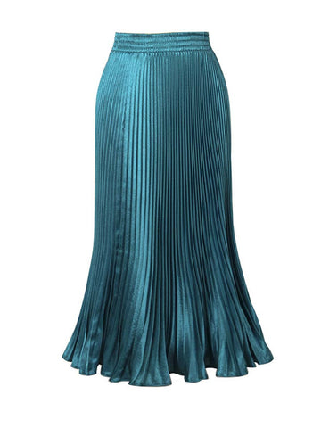 Solid-Color Deluxe Pleated Maxi Skirt - Bychicstyle.com