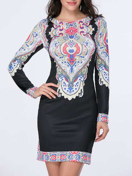 Paisley Tribal Printed Round Neck Bodycon Dress - Bychicstyle.com