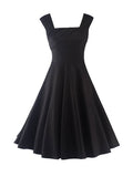 ByChicStyle Square Neck Basic Plain Skater Dress - Bychicstyle.com