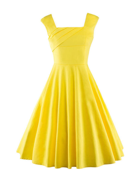 Square Neck Basic Plain Skater Dress - Bychicstyle.com