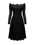 ByChicStyle Scalloped Off Shoulder Hollow Out Plain Lace Skater Dress - Bychicstyle.com