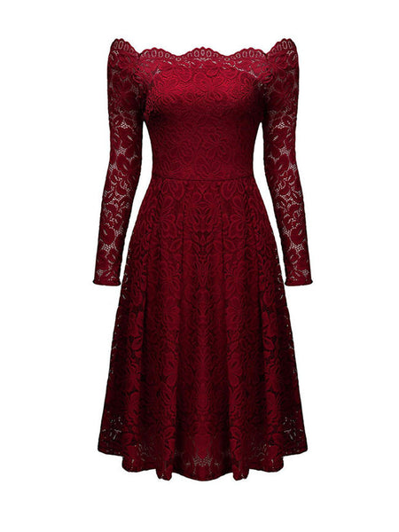 Scalloped Off Shoulder Hollow Out Plain Lace Skater Dress - Bychicstyle.com