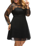 ByChicStyle Hollow Out Plain Round Neck Plus Size Flared Dress - Bychicstyle.com
