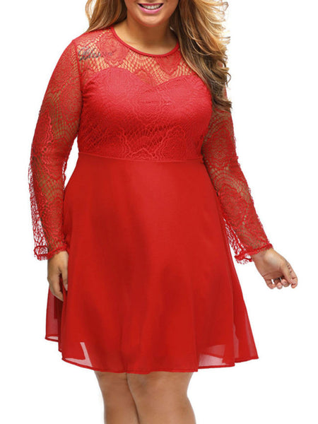 Hollow Out Plain Round Neck Plus Size Flared Dress - Bychicstyle.com