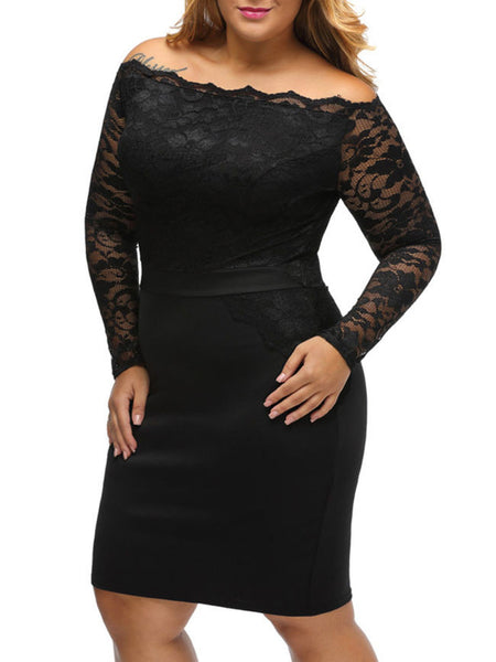 Black Off Shoulder Plain Plus Lace Dress - Bychicstyle.com