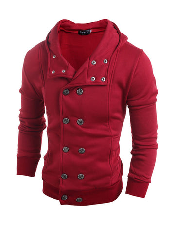 Men Hooded Double Breasted Plain Coat - Bychicstyle.com