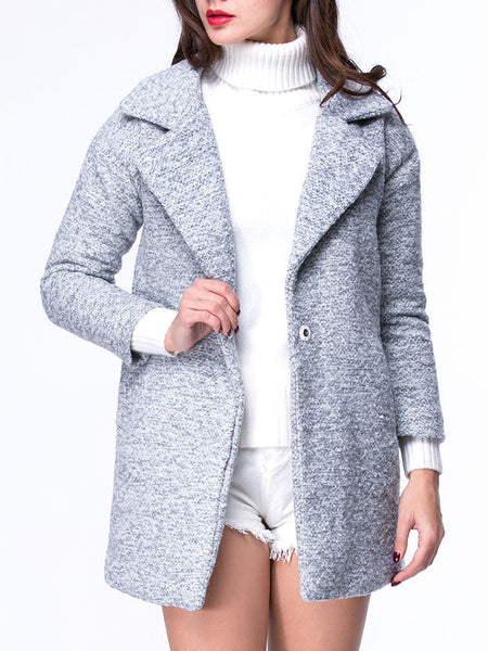 Casual Warm Lapel Slit Pocket Single Button Coat