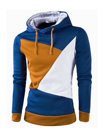 Mens Drawstring Color Block Hoodie - Bychicstyle.com