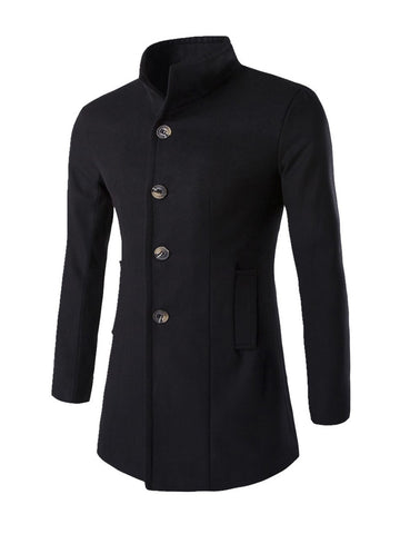 Casual Band Collar Warm Men Coat