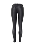 ByChicStyle Casual Zips Plain Slim-Leg Low-Rise Faux Leather Casual Pant