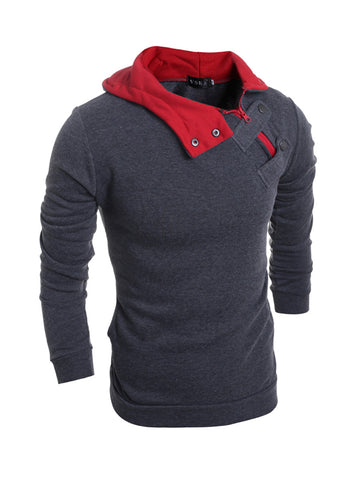 Color Block Men Fleece Hoodie - Bychicstyle.com