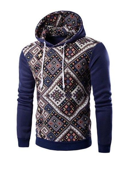 Mens Geometric Printed Drawstring Hoodie - Bychicstyle.com