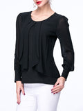 ByChicStyle Patchwork Chiffon Hollow Out Plain Round Neck Blouse - Bychicstyle.com
