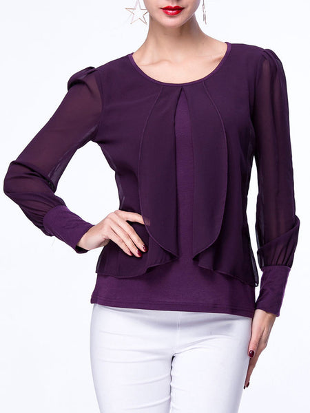 Patchwork Chiffon Hollow Out Plain Round Neck Blouse - Bychicstyle.com
