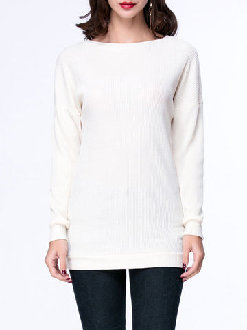 Casual Basic Casual Boat Neck Plain Sweater