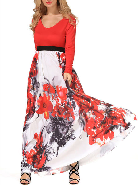 Casual V-Neck Attractive Color Block Floral Maxi Dress