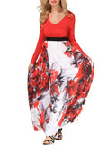 ByChicStyle Casual V-Neck Attractive Color Block Floral Maxi Dress