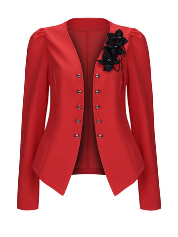 Collarless Decorative Button Floral Puff Sleeve Blazer - Bychicstyle.com