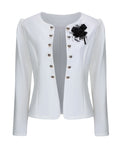 ByChicStyle Collarless Bowknot Double Breasted Plain Blazer - Bychicstyle.com