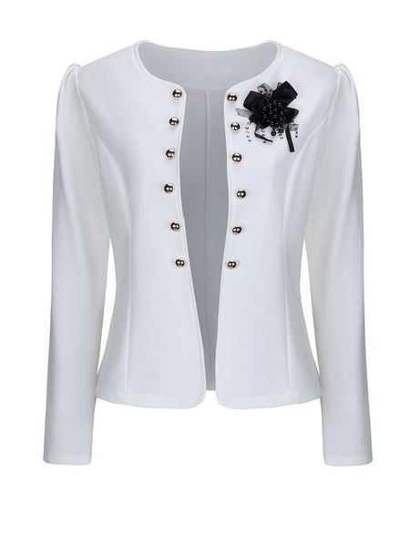Collarless Bowknot Double Breasted Plain Blazer - Bychicstyle.com