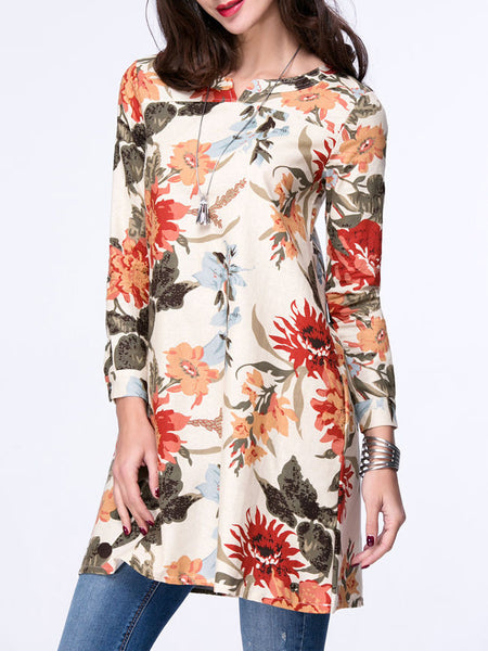 Colorful Split Neck Pocket Floral Blouse - Bychicstyle.com