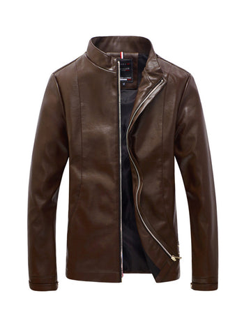 Leather Men Band Collar Jacket - Bychicstyle.com