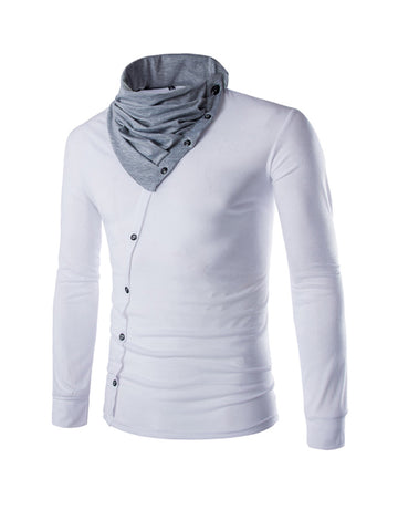 Buttons Cowl Neck Men Shirt - Bychicstyle.com