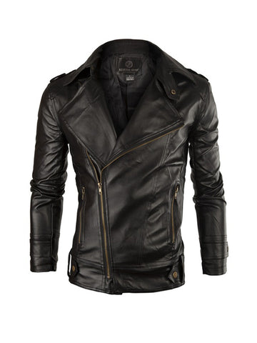 Leather Men Motorcycle Jacket - Bychicstyle.com