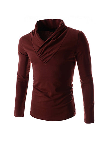 Cowl Neck Fleece Men Sweatshirt - Bychicstyle.com