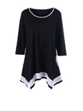 ByChicStyle Casual Asymmetric Hem Color Block Round Neck Plus Size T-Shirt