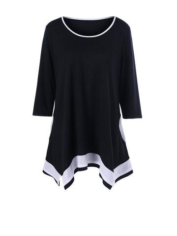 Casual Asymmetric Hem Color Block Round Neck Plus Size T-Shirt