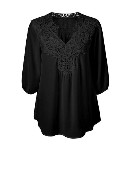 Casual V-Neck Brief Decorative Lace Plain Plus Size Blouse