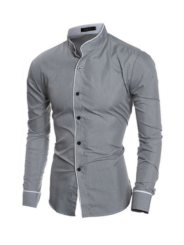 Casual Band Collar Men's Shirt