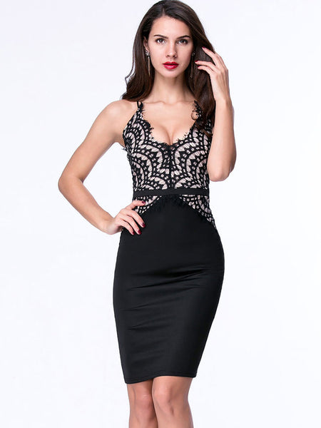 Spaghetti Strap Sexy Decorative Lace Cocktail Dress - Bychicstyle.com