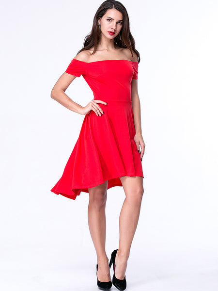 High-Low Off Shoulder Plain Skater Dress - Bychicstyle.com