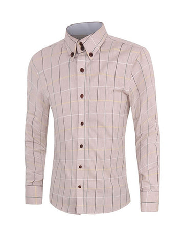 Men's Assorted Colorsplaid Small Lapel Shirt - Bychicstyle.com