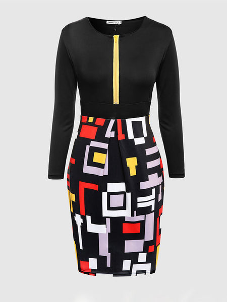 Color Block Geometric Round Neck Plus Size Bodycon Dress - Bychicstyle.com