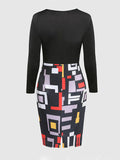 ByChicStyle Color Block Geometric Round Neck Plus Size Bodycon Dress - Bychicstyle.com