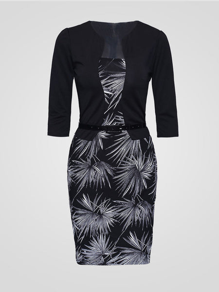 Fake Two-Piece Printed Plus Size Bodycon Dress - Bychicstyle.com