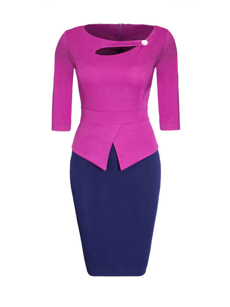 Asymmetric Neck Cutout Color Block Plus Size Bodycon Dress - Bychicstyle.com