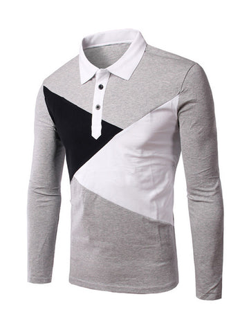Mens Patchwork Polo Collar T-Shirt - Bychicstyle.com