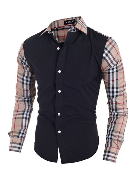 Mens Single Breasted Patchwork Plaid Blouse - Bychicstyle.com