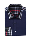 ByChicStyle Mens Single Breasted Patchwork Plaid Blouse - Bychicstyle.com