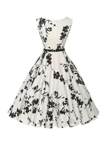 Black White Boat Neck Floral Printed Plus Size Flared Dress - Bychicstyle.com