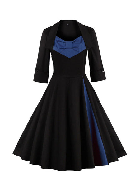 Courtly Bowknot Color Block Plus Size Flared Dress - Bychicstyle.com