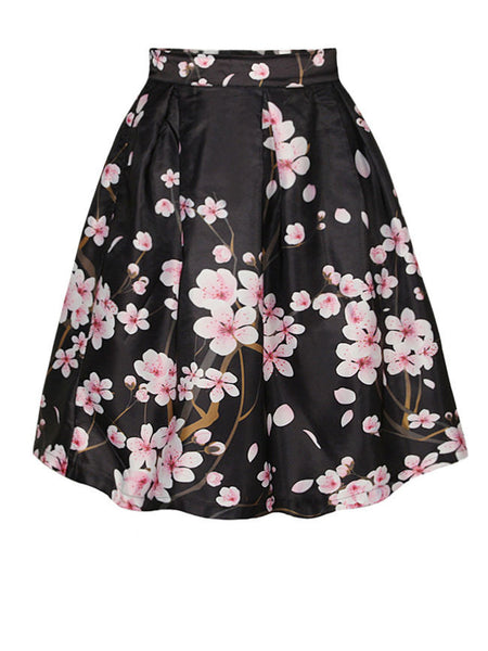Casual Vintage Floral Printed Swing Midi Skirt