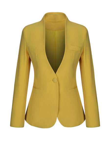Single Button Office Designed Plain Blazer - Bychicstyle.com