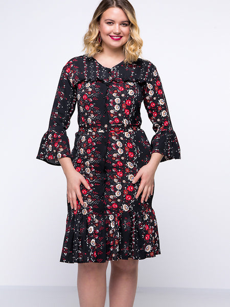 Casual V-Neck Ruffled Hem Floral Chiffon Bell Sleeve Plus Size Bodycon Dress