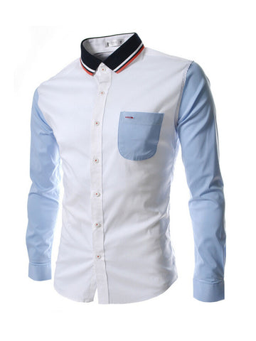 Mens Color Block Pocket Casual Shirt - Bychicstyle.com