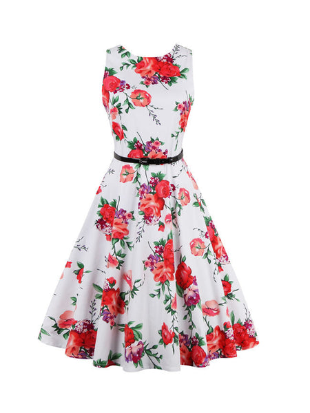 Round Neck Floral Printed Delightful Plus Size Flared Dress - Bychicstyle.com